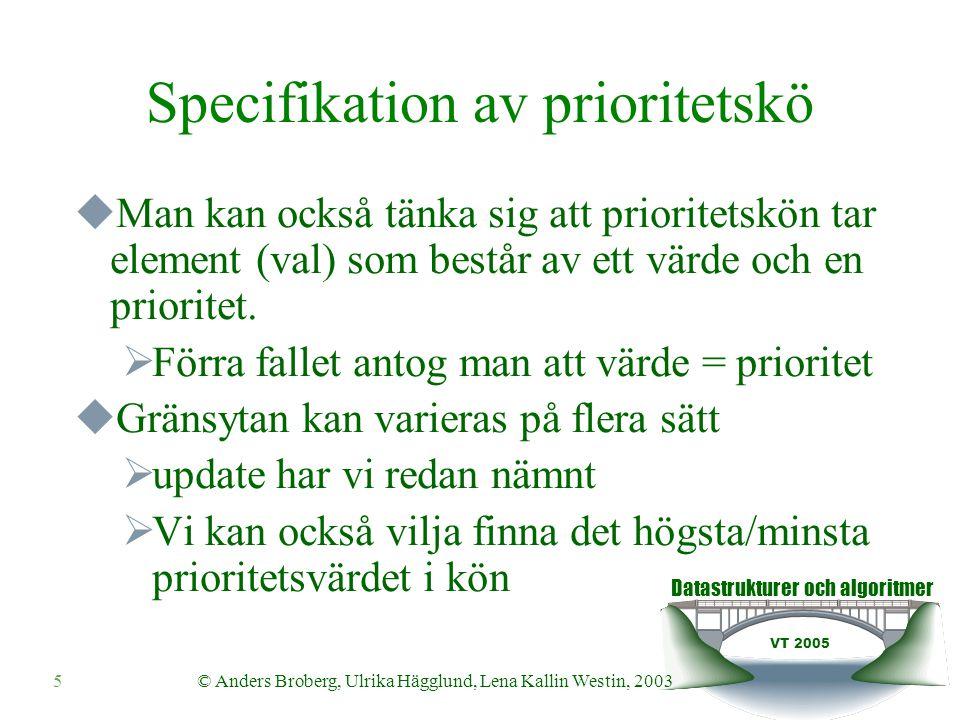 Datastrukturer och algoritmer VT 2005 © Anders Broberg, Ulrika Hägglund, Lena Kallin Westin, 20035 Specifikation av prioritetskö  Man kan också tänka sig att prioritetskön tar element (val) som består av ett värde och en prioritet.