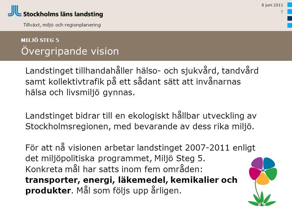 Tillväxt, miljö och regionplanering 8 juni 2011 7 Landstinget tillhandahåller hälso- och sjukvård, tandvård samt kollektivtrafik på ett sådant sätt att invånarnas hälsa och livsmiljö gynnas.