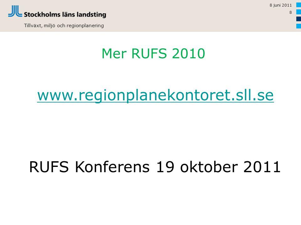 Tillväxt, miljö och regionplanering Mer RUFS 2010 8 juni 2011 8 www.regionplanekontoret.sll.se RUFS Konferens 19 oktober 2011
