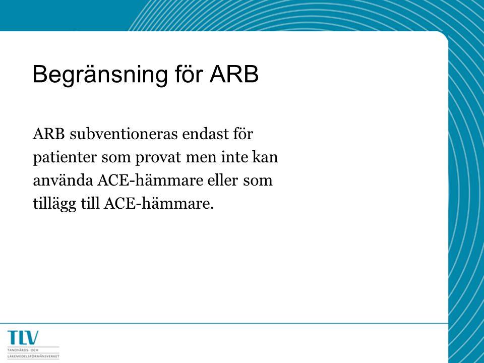 Begränsning för ARB ARB subventioneras endast för patienter som provat men inte kan använda ACE-hämmare eller som tillägg till ACE-hämmare.