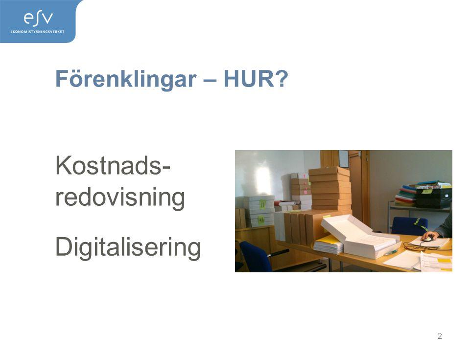 Förenklingar – HUR? 2 Kostnads- redovisning Digitalisering