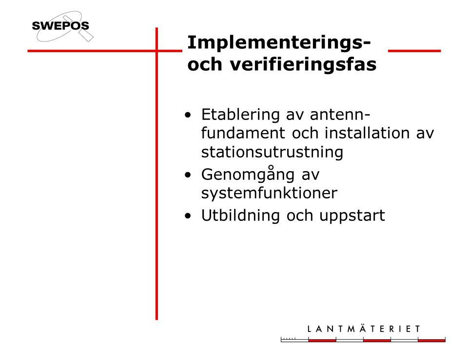 Implementerings- och verifieringsfas Etablering av antenn- fundament och installation av stationsutrustning Genomgång av systemfunktioner Utbildning och uppstart