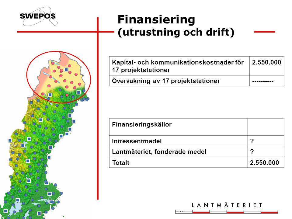 Finansiering (utrustning och drift) Kapital- och kommunikationskostnader för 17 projektstationer 2.550.000 Övervakning av 17 projektstationer---------- Finansieringskällor Intressentmedel.