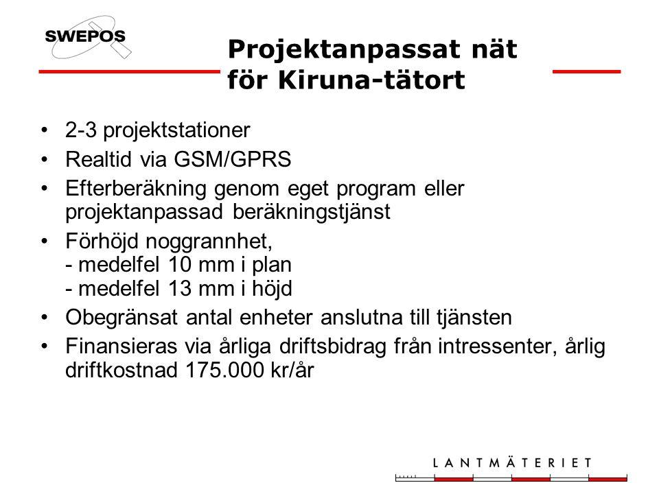 2-3 projektstationer Realtid via GSM/GPRS Efterberäkning genom eget program eller projektanpassad beräkningstjänst Förhöjd noggrannhet, - medelfel 10 mm i plan - medelfel 13 mm i höjd Obegränsat antal enheter anslutna till tjänsten Finansieras via årliga driftsbidrag från intressenter, årlig driftkostnad 175.000 kr/år Projektanpassat nät för Kiruna-tätort