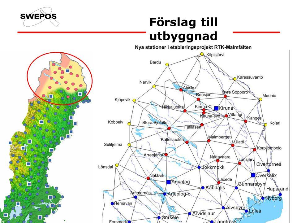 Syfte Etablering + ett års drift av nätverks-RTK i nordvästra Norrbotten Produktionsmätning, funktion, kostnads-/nyttoeffekt för nätverks- RTK Utarbeta rutiner för transformation från SWEREF 99 till lokala system Vilka vinster finns i att introducera nätverks-RTK i organisationer som arbetar med detaljmätning, maskinstyrning etc.?
