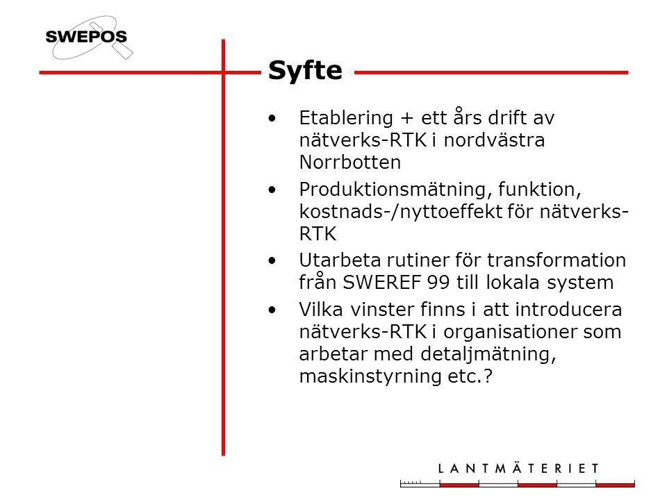 Syfte Etablering + ett års drift av nätverks-RTK i nordvästra Norrbotten Produktionsmätning, funktion, kostnads-/nyttoeffekt för nätverks- RTK Utarbeta rutiner för transformation från SWEREF 99 till lokala system Vilka vinster finns i att introducera nätverks-RTK i organisationer som arbetar med detaljmätning, maskinstyrning etc.