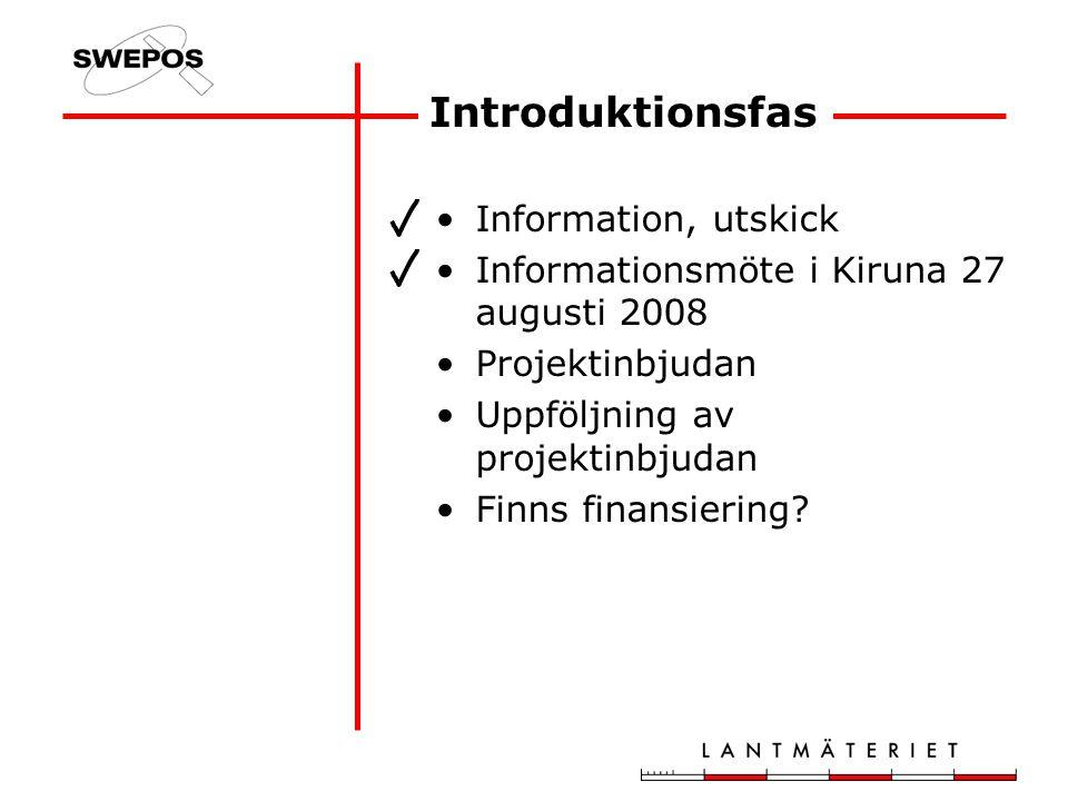 Introduktionsfas Information, utskick Informationsmöte i Kiruna 27 augusti 2008 Projektinbjudan Uppföljning av projektinbjudan Finns finansiering
