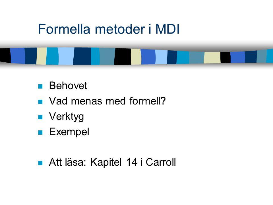 060207 Formella metoder i MDI2 Behovet Vi vill kunna se detaljer tydligt analysera och förstå kommunicera med inblandade generera gränssnitt automatiskt