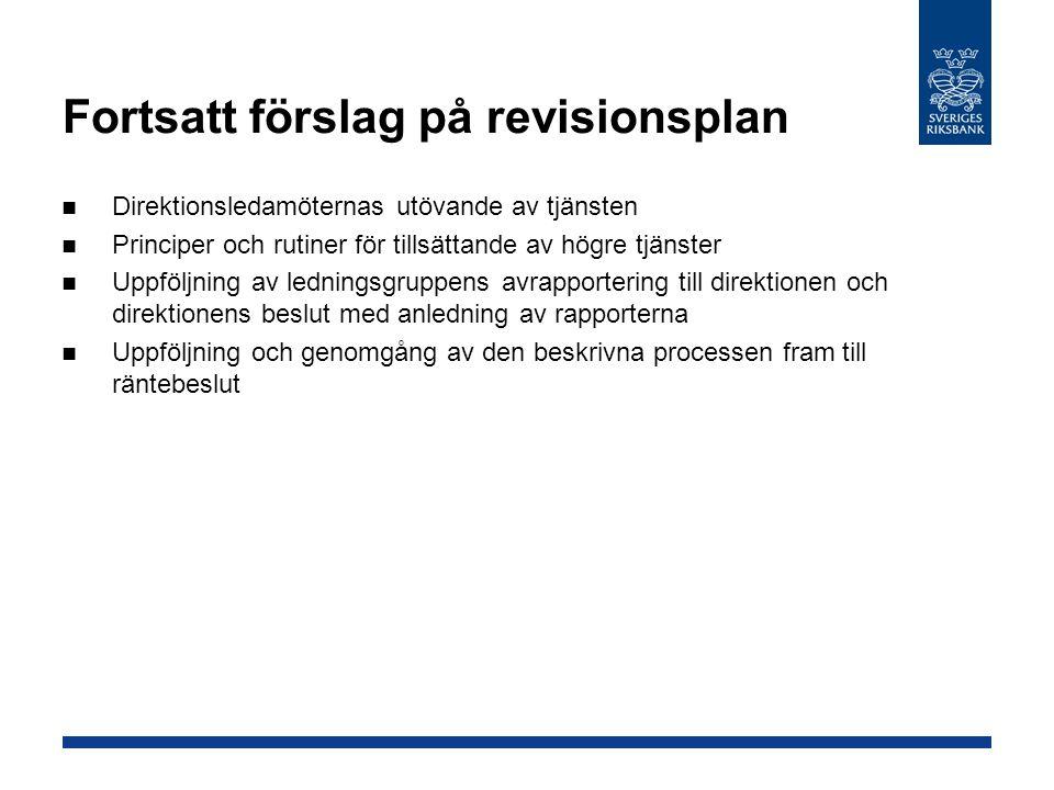 Fortsatt förslag på revisionsplan Direktionsledamöternas utövande av tjänsten Principer och rutiner för tillsättande av högre tjänster Uppföljning av ledningsgruppens avrapportering till direktionen och direktionens beslut med anledning av rapporterna Uppföljning och genomgång av den beskrivna processen fram till räntebeslut