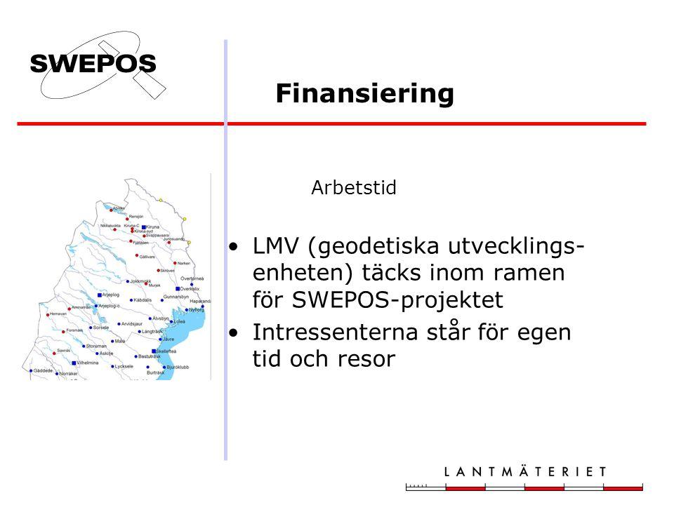 Finansiering Arbetstid LMV (geodetiska utvecklings- enheten) täcks inom ramen för SWEPOS-projektet Intressenterna står för egen tid och resor