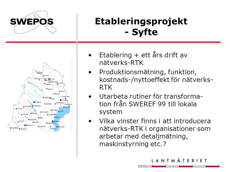 Etableringsprojekt - Syfte Etablering + ett års drift av nätverks-RTK Produktionsmätning, funktion, kostnads-/nyttoeffekt för nätverks- RTK Utarbeta rutiner för transforma- tion från SWEREF 99 till lokala system Vilka vinster finns i att introducera nätverks-RTK i organisationer som arbetar med detaljmätning, maskinstyrning etc.