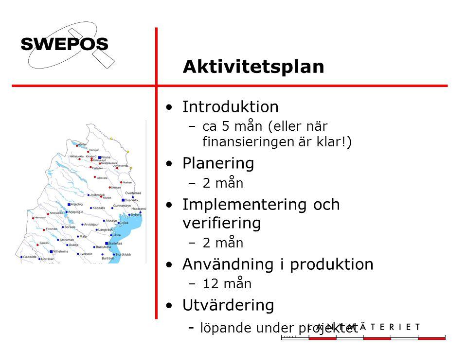 Introduktion –ca 5 mån (eller när finansieringen är klar!) Planering –2 mån Implementering och verifiering –2 mån Användning i produktion –12 mån Utvärdering - löpande under projektet Aktivitetsplan