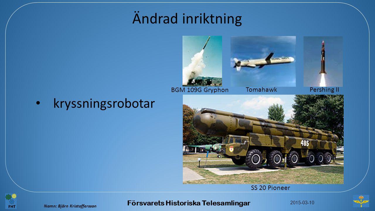 Namn: Björn Kristoffersson 2015-03-10 Försvarets Historiska Telesamlingar Ändrad inriktning kryssningsrobotar BGM 109G Gryphon Pershing II Tomahawk SS