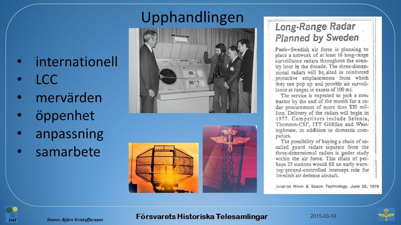 Namn: Björn Kristoffersson 2015-03-10 Försvarets Historiska Telesamlingar Upphandlingen internationell LCC mervärden öppenhet anpassning samarbete