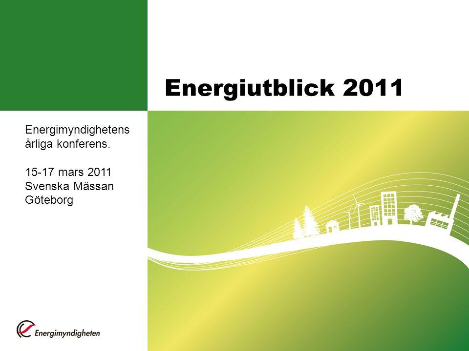 Energiutblick 2011 Energimyndighetens årliga konferens. 15-17 mars 2011 Svenska Mässan Göteborg