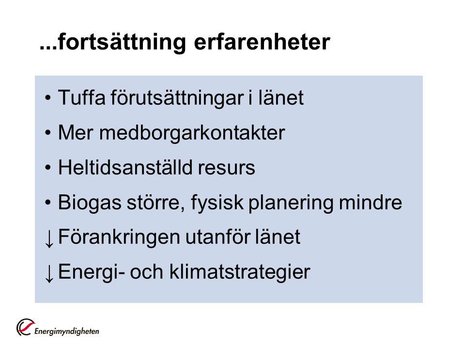 ...fortsättning erfarenheter Tuffa förutsättningar i länet Mer medborgarkontakter Heltidsanställd resurs Biogas större, fysisk planering mindre ↓Förankringen utanför länet ↓Energi- och klimatstrategier