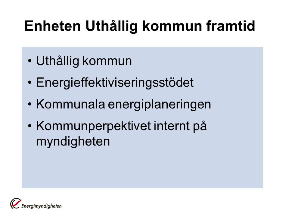 Enheten Uthållig kommun framtid Uthållig kommun Energieffektiviseringsstödet Kommunala energiplaneringen Kommunperpektivet internt på myndigheten