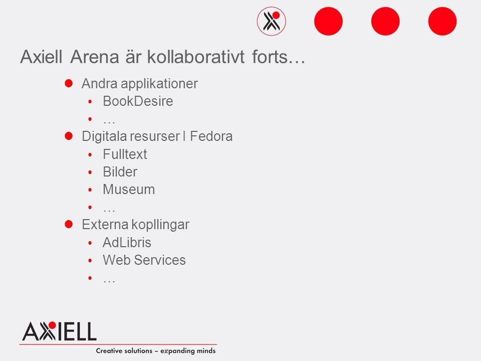 Axiell Arena är kollaborativt forts… Andra applikationer BookDesire … Digitala resurser I Fedora Fulltext Bilder Museum … Externa kopllingar AdLibris Web Services …