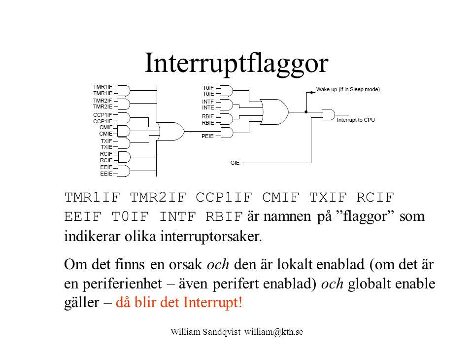 William Sandqvist william@kth.se Interruptflaggor TMR1IF TMR2IF CCP1IF CMIF TXIF RCIF EEIF T0IF INTF RBIF är namnen på flaggor som indikerar olika interruptorsaker.
