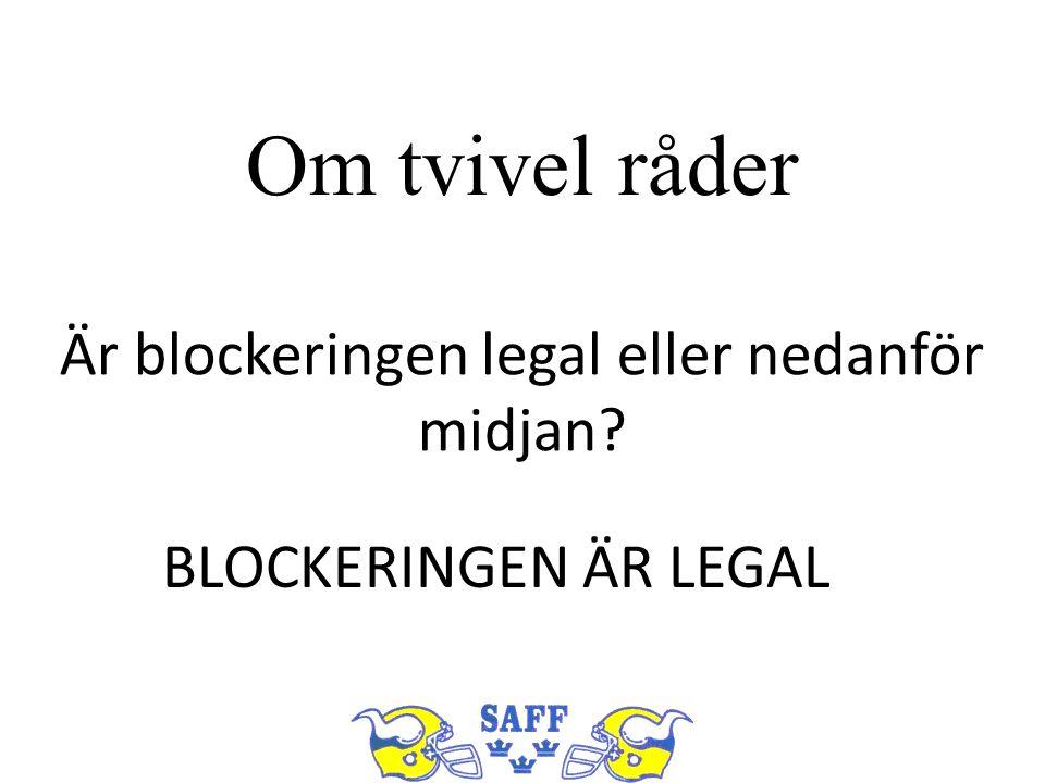 Om tvivel råder Är blockeringen legal eller nedanför midjan? BLOCKERINGEN ÄR LEGAL