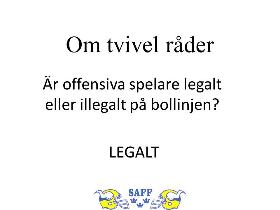 Om tvivel råder Är offensiva spelare legalt eller illegalt på bollinjen? LEGALT