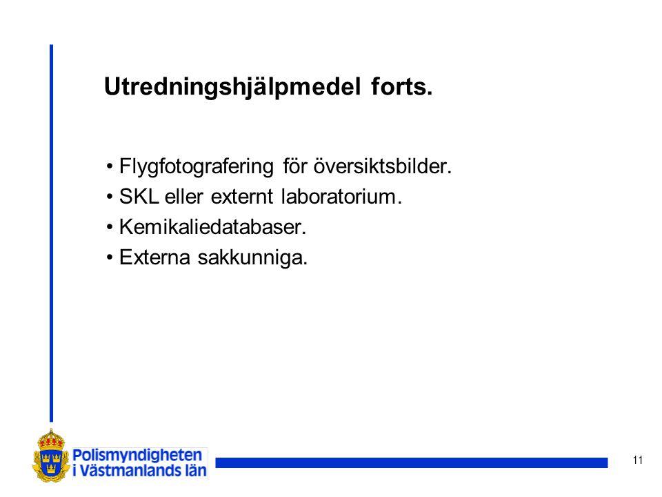 11 Utredningshjälpmedel forts. Flygfotografering för översiktsbilder. SKL eller externt laboratorium. Kemikaliedatabaser. Externa sakkunniga.