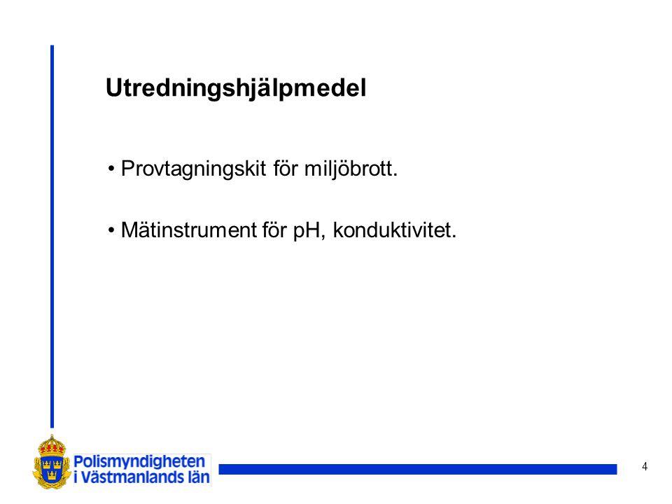 4 Utredningshjälpmedel Provtagningskit för miljöbrott. Mätinstrument för pH, konduktivitet.