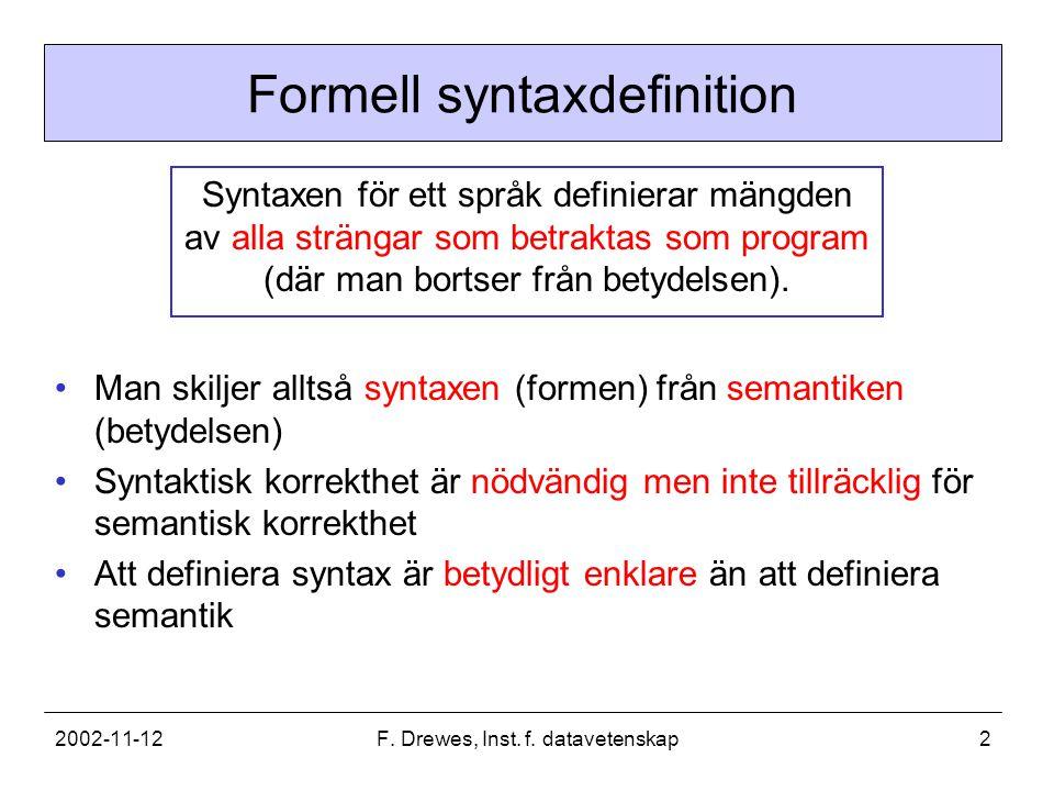 2002-11-12F. Drewes, Inst. f. datavetenskap2 Formell syntaxdefinition Syntaxen för ett språk definierar mängden av alla strängar som betraktas som pro