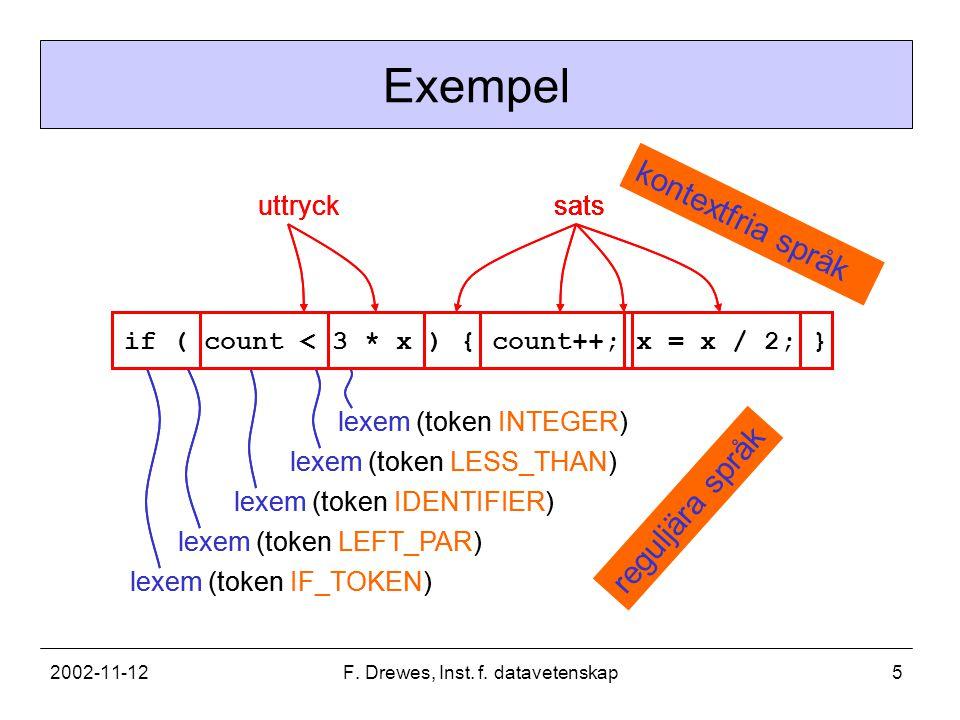 2002-11-12F. Drewes, Inst. f. datavetenskap5 lexem (token IF_TOKEN) lexem (token LEFT_PAR) lexem (token IDENTIFIER) lexem (token LESS_THAN) lexem (tok