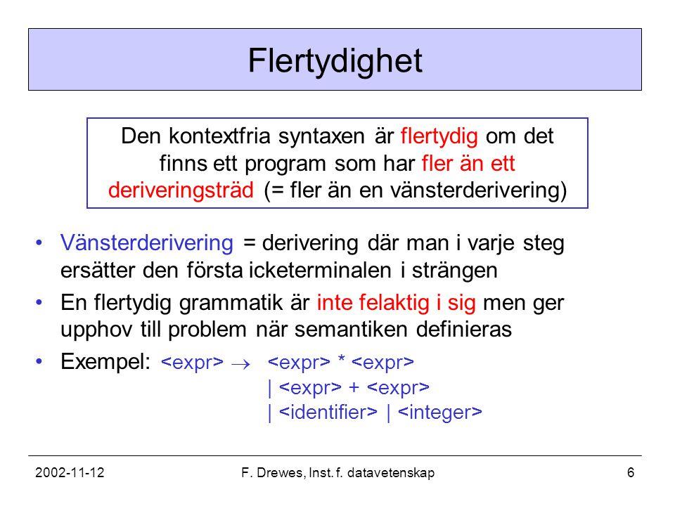 2002-11-12F. Drewes, Inst. f. datavetenskap6 Flertydighet Den kontextfria syntaxen är flertydig om det finns ett program som har fler än ett deriverin