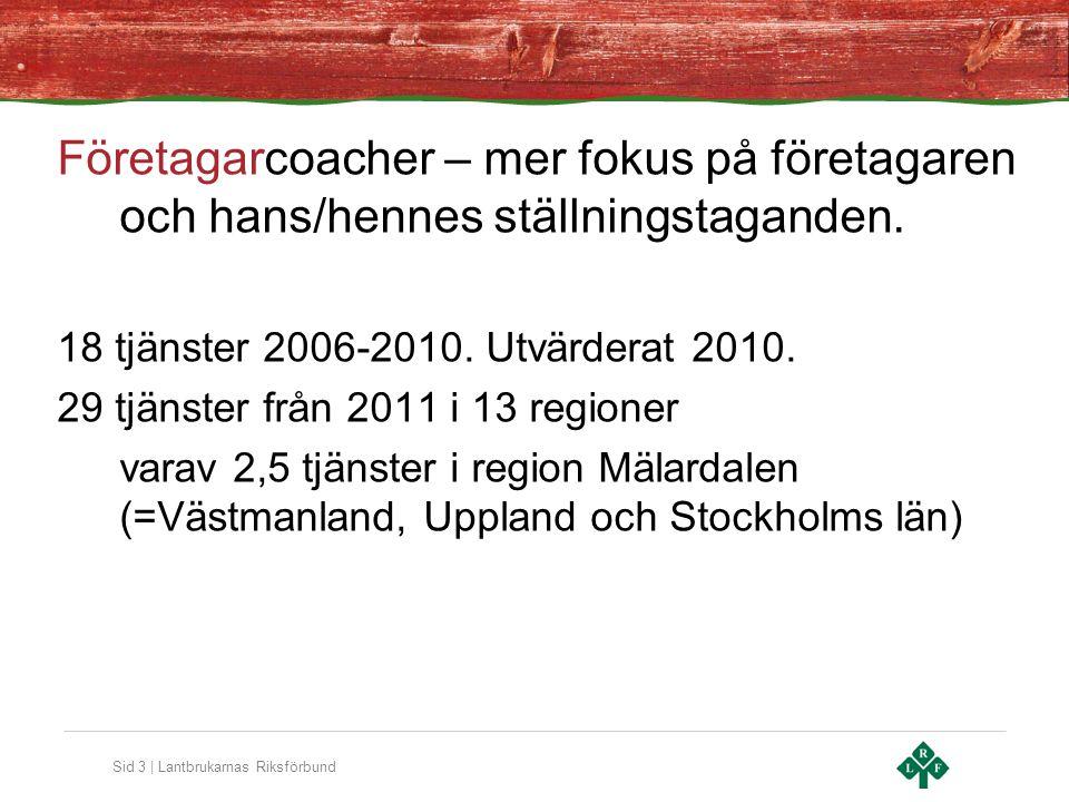 Sid 3 | Lantbrukarnas Riksförbund Företagarcoacher – mer fokus på företagaren och hans/hennes ställningstaganden. 18 tjänster 2006-2010. Utvärderat 20
