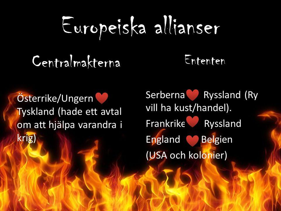 Europeiska allianser Centralmakterna Österrike/Ungern Tyskland (hade ett avtal om att hjälpa varandra i krig) Ententen Serberna Ryssland (Ry vill ha k