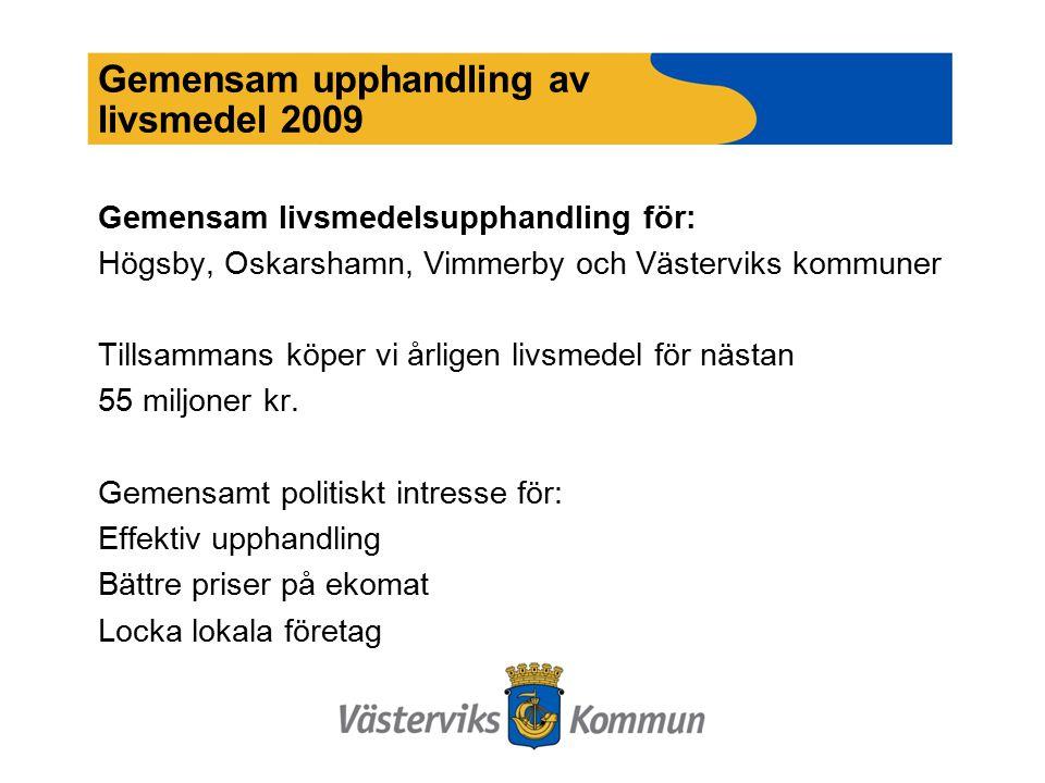 Gemensam upphandling av livsmedel 2009 Gemensam livsmedelsupphandling för: Högsby, Oskarshamn, Vimmerby och Västerviks kommuner Tillsammans köper vi årligen livsmedel för nästan 55 miljoner kr.