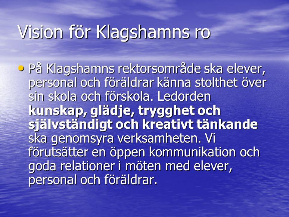 Vision för Klagshamns ro På Klagshamns rektorsområde ska elever, personal och föräldrar känna stolthet över sin skola och förskola.