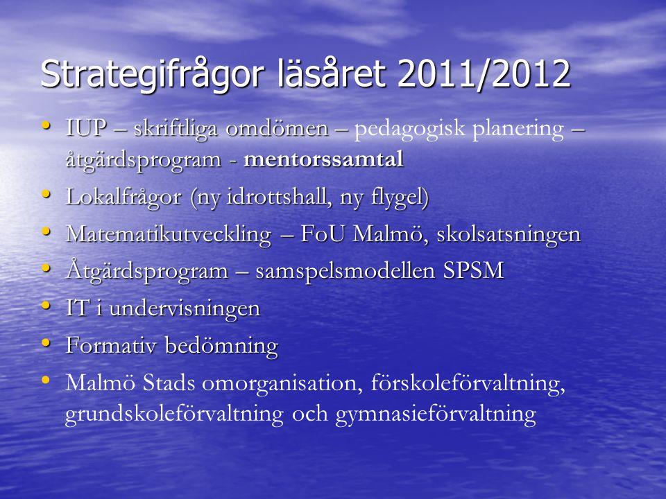 Strategifrågor läsåret 2011/2012 IUP – skriftliga omdömen – – åtgärdsprogram - mentorssamtal IUP – skriftliga omdömen – pedagogisk planering – åtgärdsprogram - mentorssamtal Lokalfrågor (ny idrottshall, ny flygel) Lokalfrågor (ny idrottshall, ny flygel) Matematikutveckling – FoU Malmö, skolsatsningen Matematikutveckling – FoU Malmö, skolsatsningen Åtgärdsprogram – samspelsmodellen SPSM Åtgärdsprogram – samspelsmodellen SPSM IT i undervisningen IT i undervisningen Formativ bedömning Formativ bedömning Malmö Stads omorganisation, förskoleförvaltning, grundskoleförvaltning och gymnasieförvaltning