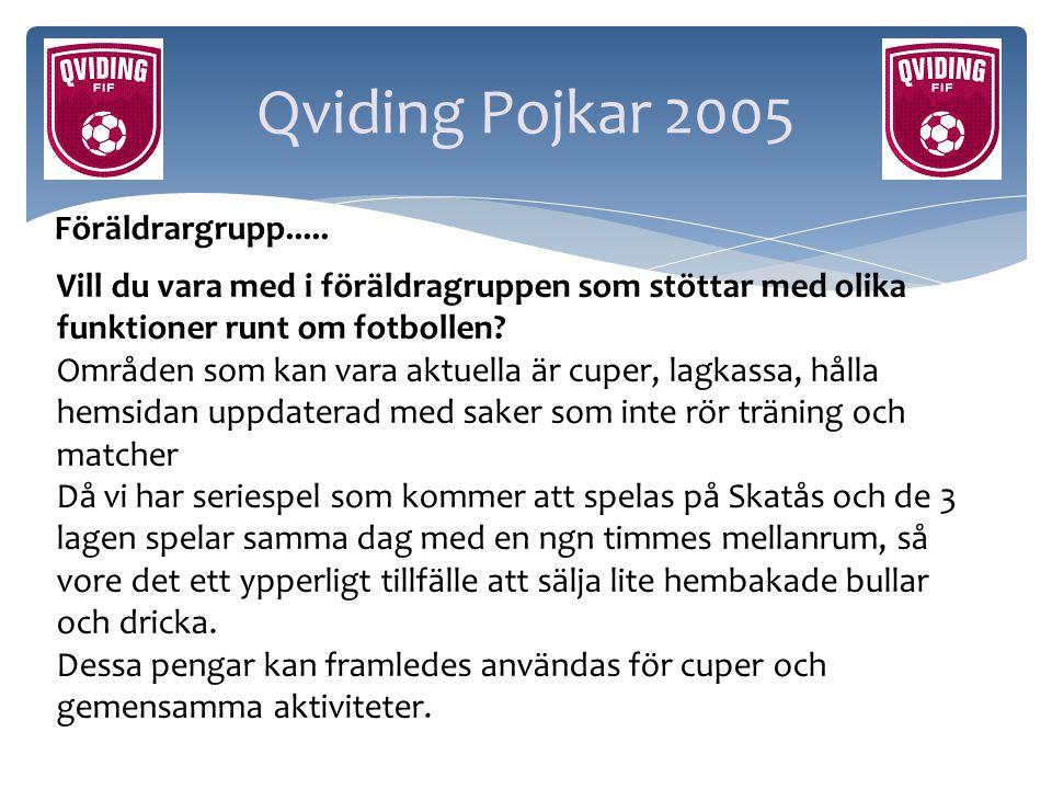 Qviding Pojkar 2005 Föräldrargrupp..... Vill du vara med i föräldragruppen som stöttar med olika funktioner runt om fotbollen? Områden som kan vara ak