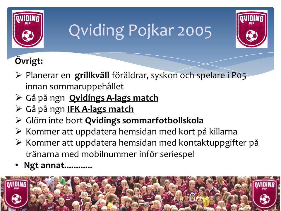 Qviding Pojkar 2005 Övrigt:  Planerar en grillkväll föräldrar, syskon och spelare i P05 innan sommaruppehållet  Gå på ngn Qvidings A-lags match  Gå