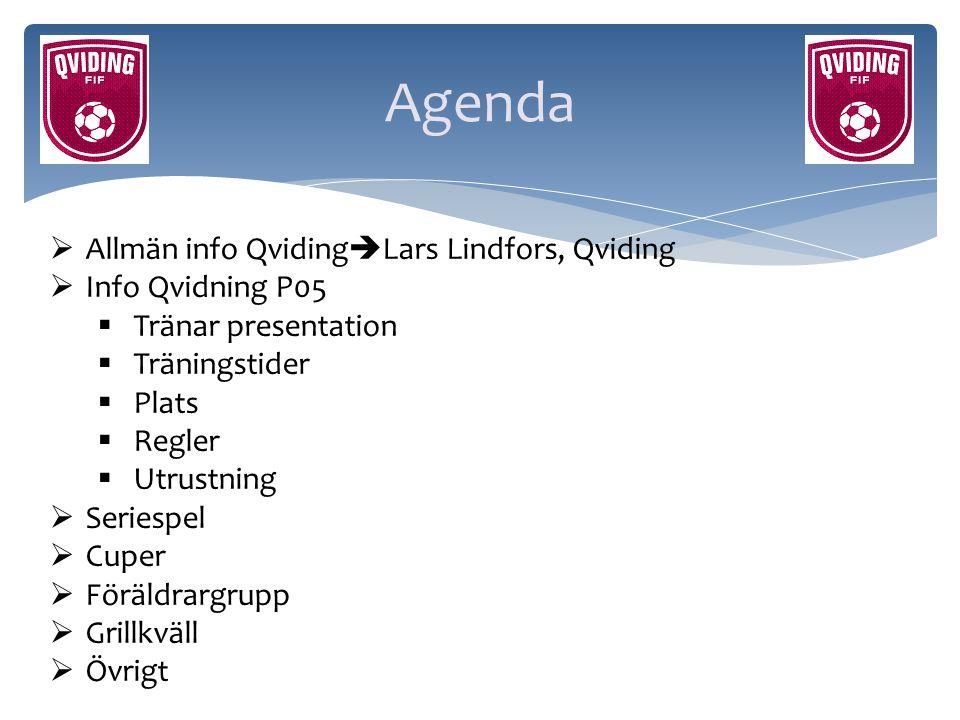 Agenda  Allmän info Qviding  Lars Lindfors, Qviding  Info Qvidning P05  Tränar presentation  Träningstider  Plats  Regler  Utrustning  Series