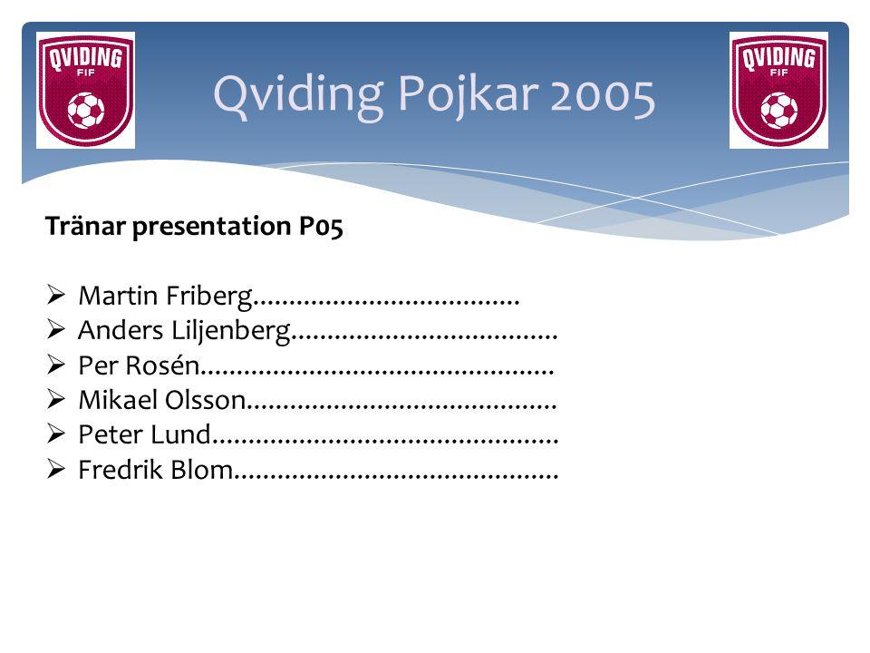 Qviding Pojkar 2005 Tränar presentation P05  Martin Friberg.....................................  Anders Liljenberg.................................