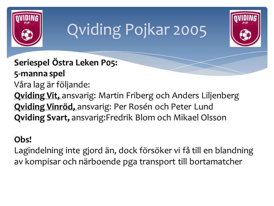 Qviding Pojkar 2005 Seriespel Östra Leken P05: 5-manna spel Våra lag är följande: Qviding Vit, ansvarig: Martin Friberg och Anders Liljenberg Qviding