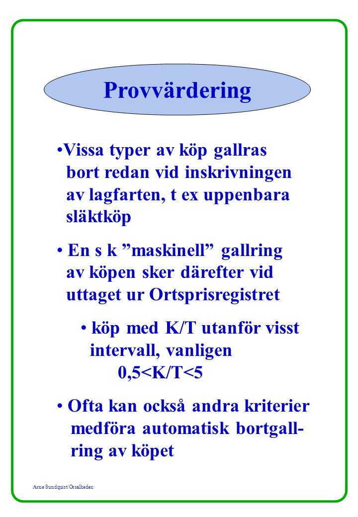 Arne Sundquist/Orsalheden Provvärdering Övningsuppgift 2B: Bestäm taxeringsvärdenivån (= rikt- värdeangivelserna) för friliggande småhus och tomtmark för de två värdeområdena Stångby och Skultelyckan i Lunds kommun med ledning av utdelat material.