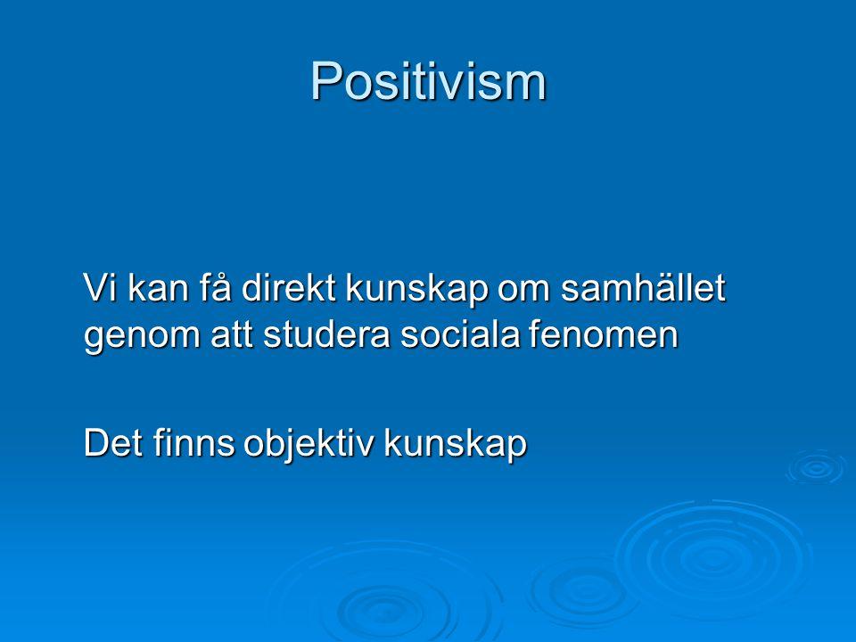 Positivism Vi kan få direkt kunskap om samhället genom att studera sociala fenomen Vi kan få direkt kunskap om samhället genom att studera sociala fen