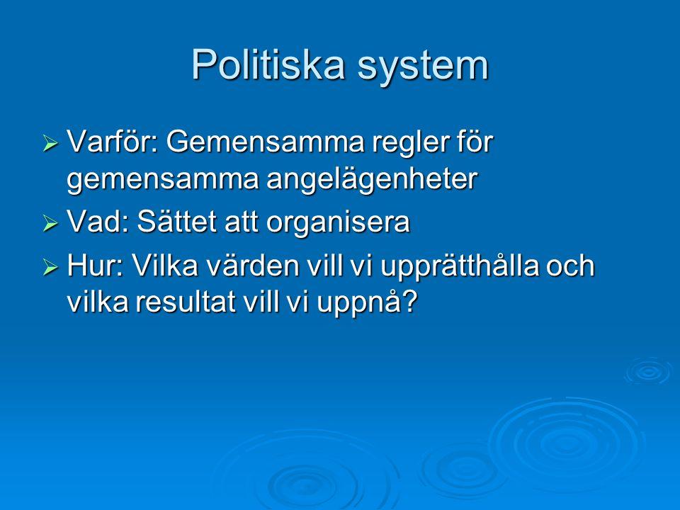 Politiska system  Varför: Gemensamma regler för gemensamma angelägenheter  Vad: Sättet att organisera  Hur: Vilka värden vill vi upprätthålla och v