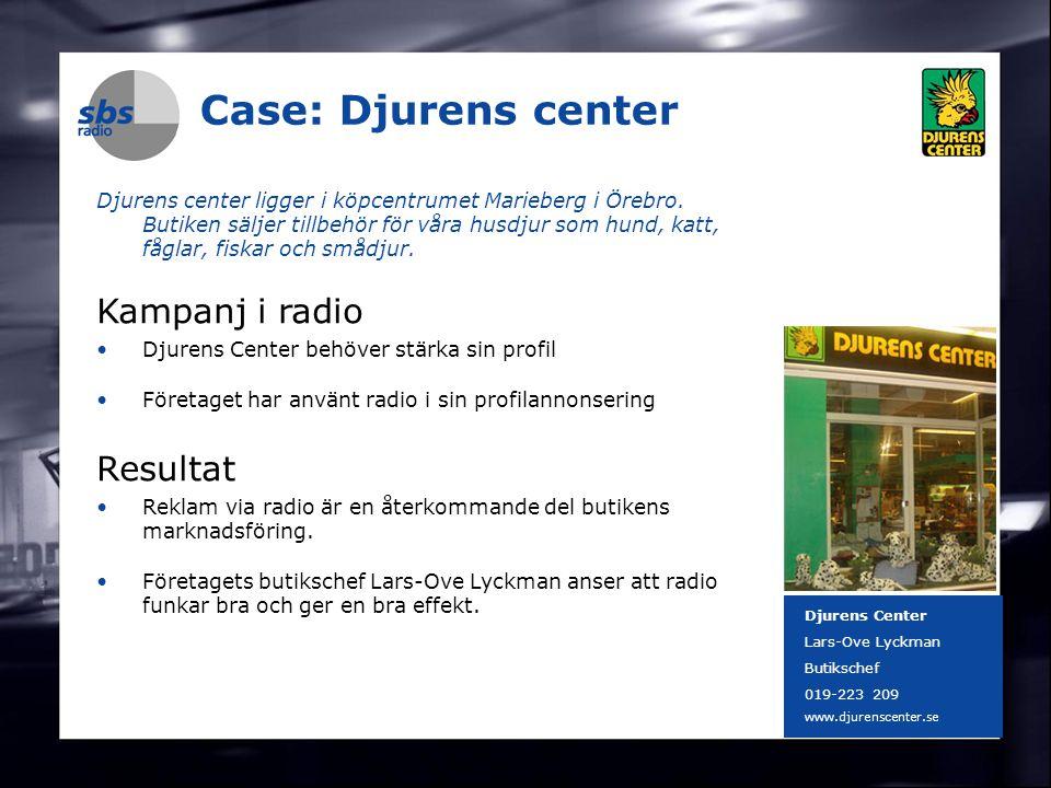 DENMARK SWEDEN FINLAND NORWAY 11 Case: Djurens center Djurens center ligger i köpcentrumet Marieberg i Örebro. Butiken säljer tillbehör för våra husdj