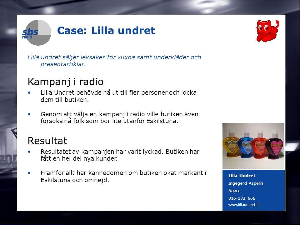 DENMARK SWEDEN FINLAND NORWAY 14 Case: Lilla undret Lilla undret säljer leksaker för vuxna samt underkläder och presentartiklar. Kampanj i radio Lilla