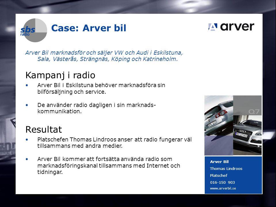 DENMARK SWEDEN FINLAND NORWAY 15 Case: Arver bil Arver Bil marknadsför och säljer VW och Audi i Eskilstuna, Sala, Västerås, Strängnäs, Köping och Katr