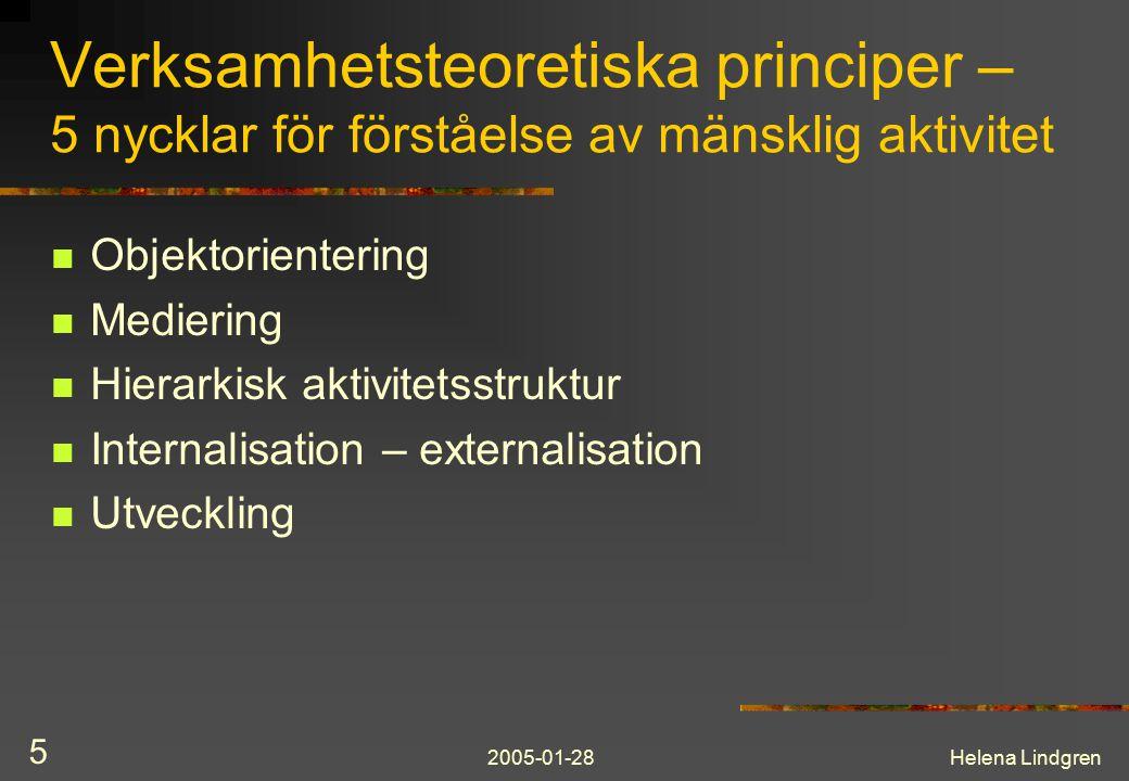 2005-01-28Helena Lindgren 5 Verksamhetsteoretiska principer – 5 nycklar för förståelse av mänsklig aktivitet Objektorientering Mediering Hierarkisk aktivitetsstruktur Internalisation – externalisation Utveckling