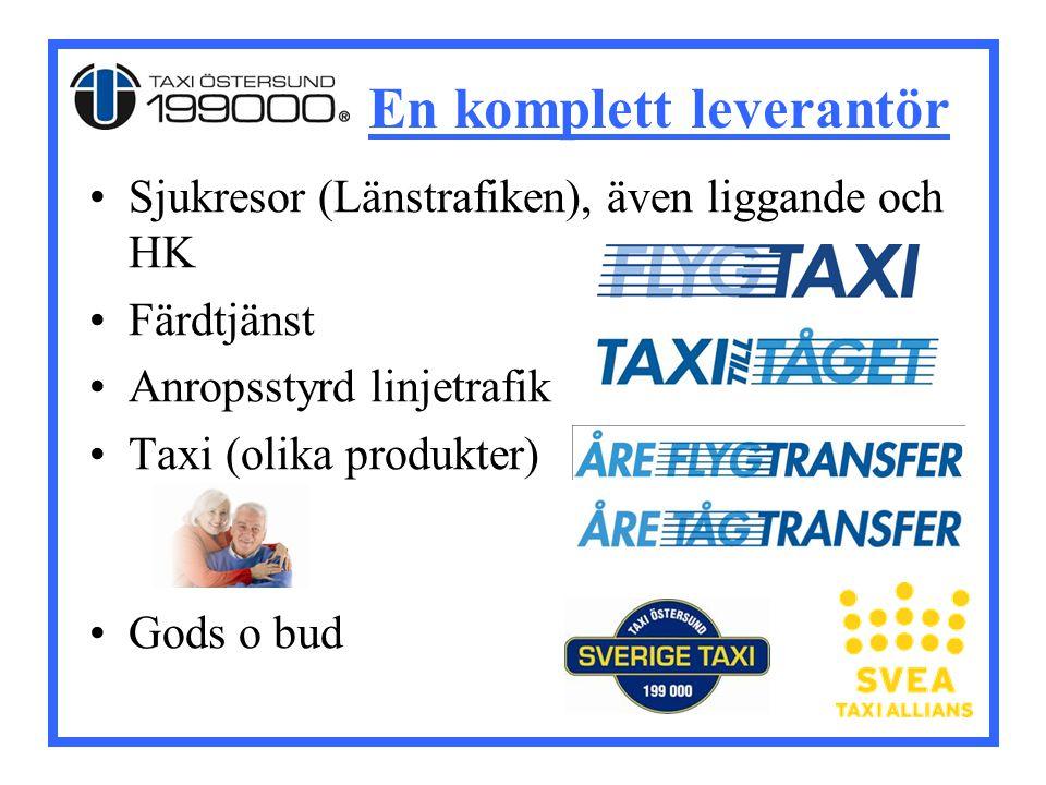 En komplett leverantör Sjukresor (Länstrafiken), även liggande och HK Färdtjänst Anropsstyrd linjetrafik Taxi (olika produkter) Gods o bud