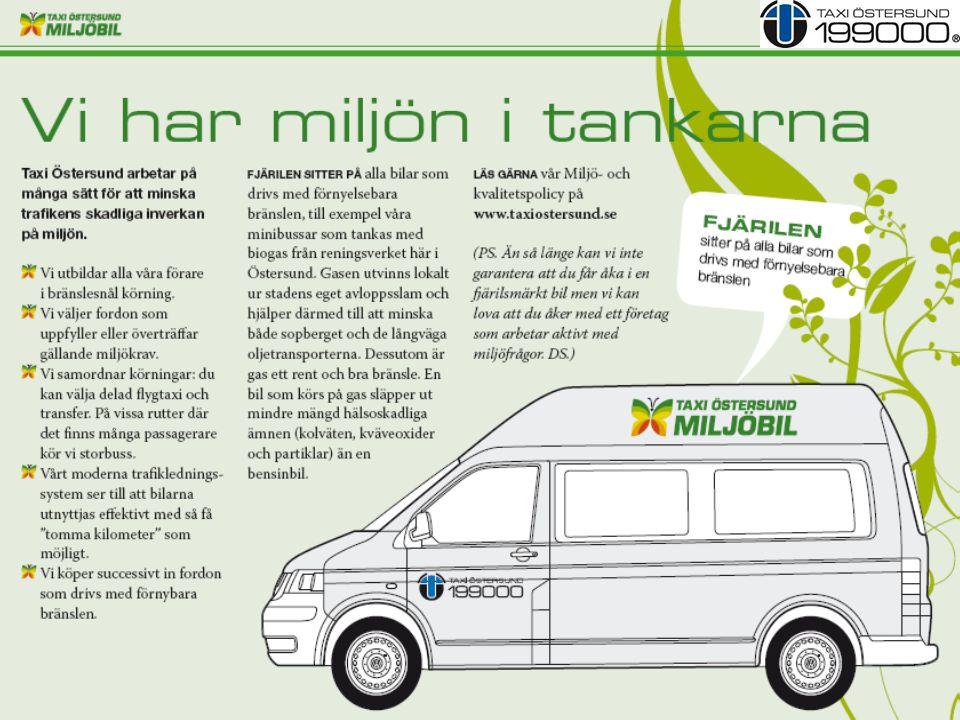 En taxibil rullar ca 15 000 mil / år 56 X 15 000 = 840 000 mil 16 fordon miljöfordon Mål 40% 2014