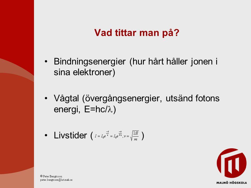 Isolektroniska sekvenser Jämföra joner med Samma antal elektroner Olika kärnor elektronmoln. kärna  Peter Bengtsson peter.bengtsson@lut.mah.se